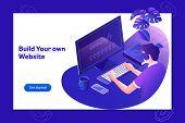 Programmer And Engineering Development Illustration.website Design. Programmer Working In A Software poster