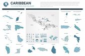 Vector Map Set.  High Detailed 19 Map Of Caribbean Countries With Administrative Division And Cities poster
