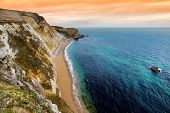 Man Owar Cove On The Dorset Coast In Southern England, Between The Headlands Of Durdle Door To The  poster