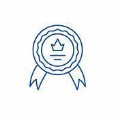 Achievement Line Icon Concept. Achievement Flat  Vector Symbol, Sign, Outline Illustration. poster