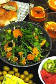 Colorful, Healthy Foods In Flatlay Style. Healthy Food And Drinks On The Table. Green Salad With Man poster