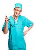 Постер, плакат: с чувством юмора Портрет молодой хирург с стетоскоп изолированные на белом фоне