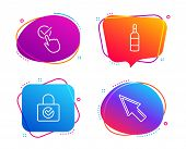 Password Encryption, Checkbox And Brandy Bottle Icons Simple Set. Mouse Cursor Sign. Protection Lock poster