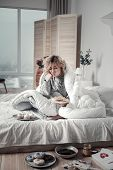 Heartbroken Woman Not Leaving Her Bed While Having Depression poster