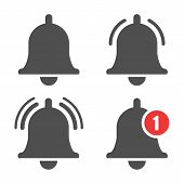 Message Bell Icon. Doorbell Icons For Apps Like Youtube, Alert Ringing Or Subscriber Alarm Symbol, C poster