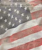 picture of preamble  - United States Declaration of Independence with USA Flag  as background for Clip - JPG