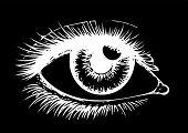 Eye On Black Background. Eyes Art. Woman Eye. The Eye Logo. Eyes Art. Human Eye, Eye Close Up - Vect poster