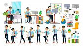 Business Man Character . Working Asian People Set. Office, Creative Studio. Asiatic. Business Situat poster