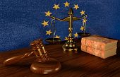 European Law Concept-judges Gavel ,law Scales And Law Books On The Background Of The European Union  poster