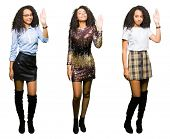 Collage of young woman wearing party looks over isolated white background Waiving saying hello happy poster