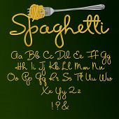 Font From Spaghetti. Alphabet. Vector Illustration Isolated On Green Background. poster