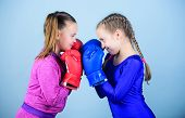 Girls In Boxing Sport. Boxer Children In Boxing Gloves. Girls Cute Boxers On Blue Background. Friend poster