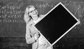 Teacher Smart Smiling Woman Hold Blackboard Blank Advertisement Copy Space. School Schedule And Info poster