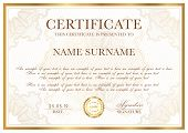 Certificate Template. Gold Border With Guilloche Pattern For Diploma, Deed, Certificate Of Appreciat poster