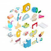Entertainment For Everyone Icons Set. Isometric Set Of 25 Entertainment For Everyone Icons For Web I poster
