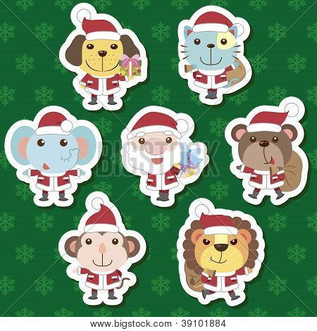 X-mas Cute Cartoon Animal Santa Claus Set