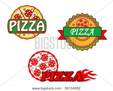Tasty Pizza Banners And Emblems