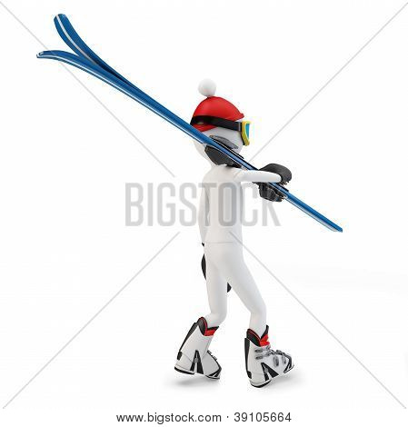 3D Man Walking To Skiing