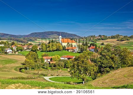 Idyllic Green Nature Of Croatian Village Of Glogovnica