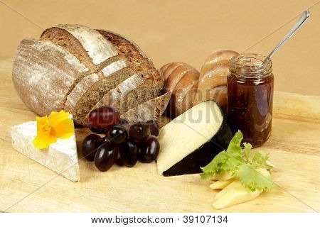 Cheese Board With Fresh Rye Bread