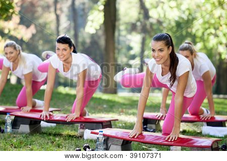 Group of aerobic women doing exercise on steppers