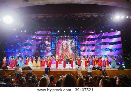 MOSCOW - DEC 1: Participants of final of 17th National Festival of Talents and Beauty Beauty of Russia - 2011 stand on stage, waiting for jury decision, Dec 1, 2011, Moscow, Russia.
