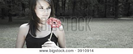 Mujer con flor roja. Montón de espacio de copia