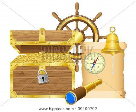 Antique Treasure Chest Vector Illustration