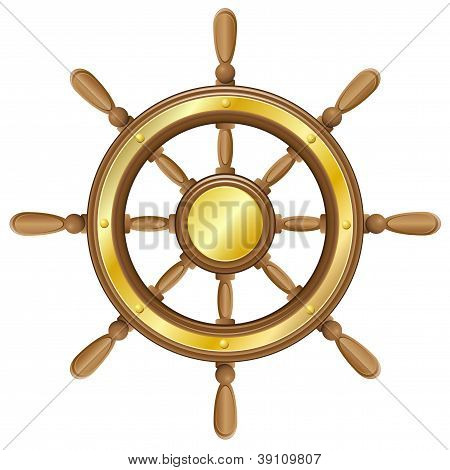 Steering Wheel For Ship Vector Illustration