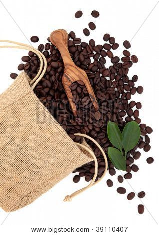 Coffee beans in a hessian drawstring sack and loose with leaf sprigs and olive wood scoop over white background.