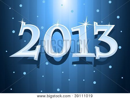 Vector illustration of New Year 2013 text with snowflakes