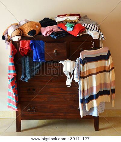 dresser with things