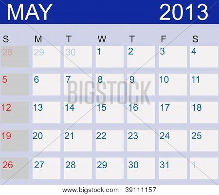 Calendar 2013. May. Vector Illustration