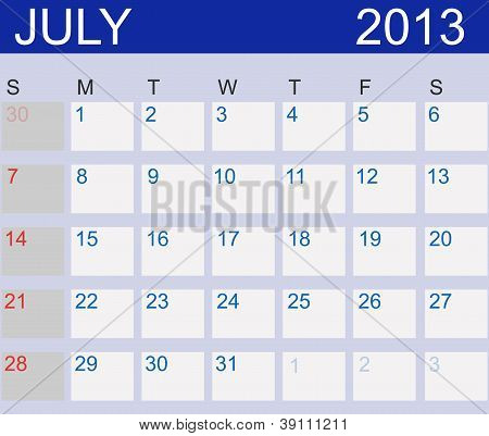 Calendar 2013. July. Vector Illustration