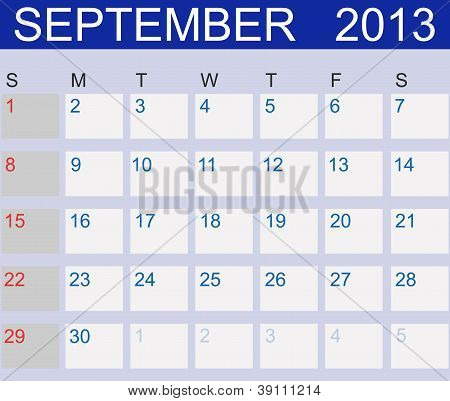 Calendar 2013. September. Vector Illustration