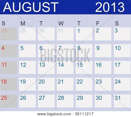 Calendar 2013. August. Vector Illustration