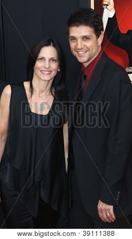 "NEW YORK-NOV 18: Actor Ralph Macchio and wife Debbie attend the premiere of ""Hitchcock"" at the Ziegfeld Theatre on November 18, 2012 in New York City."