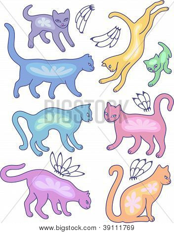 Eight cat silhouettes and fly flowers