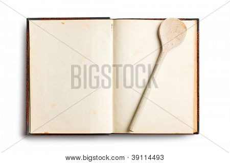old blank recipe book on white background