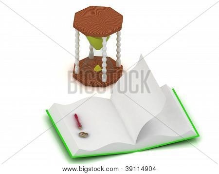 Gold Wedding Rings, Sand Clock, Open A Blank Book