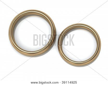 Two Wedding Rings On The Top View
