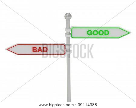 "Signs With Red ""bad"" And Green ""good"""