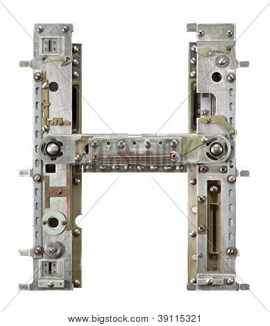 Industrial metal alphabet letter H