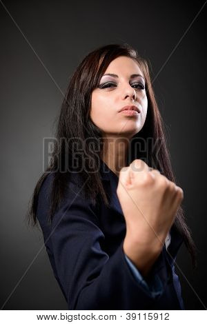 Businesswoman Showing Her Fist