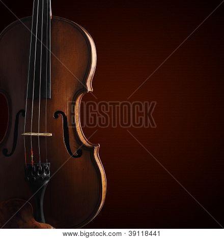 Old Violin On Dark Background With Gradient