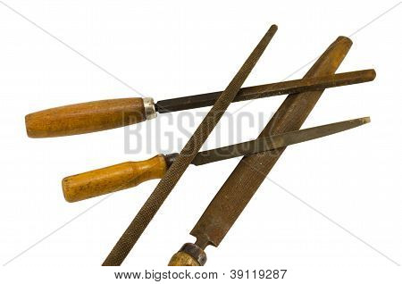 Retro Rusty Rasp File Tool Isolated On White