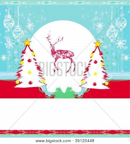 Reindeer Design on abstract background