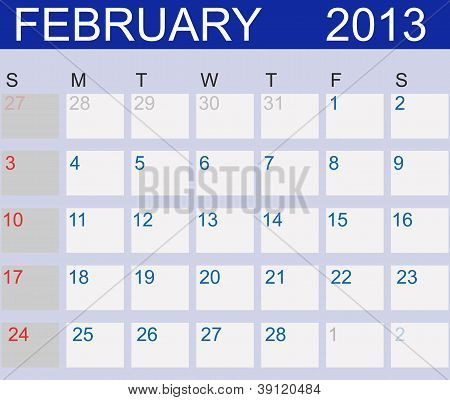 Calendar 2013. February. Vector Illustration