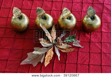 Golden Apples And Flower Christmas Decoration