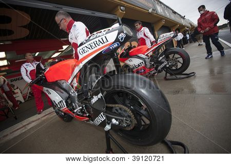 CHESTE - NOVEMBER 13: Ducati box during first test of MotoGP for 2013, on November 13, 2012, in Ricardo Tormo Circuit of Cheste, Valencia, Spain